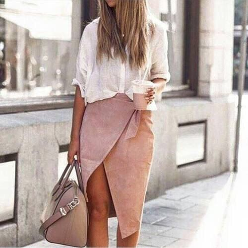 Pink wrap skirt...cute!!   Street style, street fashion, best street style, OOTD, OOTD Inspo, street style stalking, outfit ideas, what to wear now, Fashion Bloggers, Style, Seasonal Style, Outfit Inspiration, Trends, Looks, Outfits.