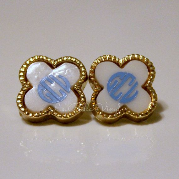 Monogramed Acrylic DieCast Earrings  Quaterfoil  by LaBellaVinyl, $5.00