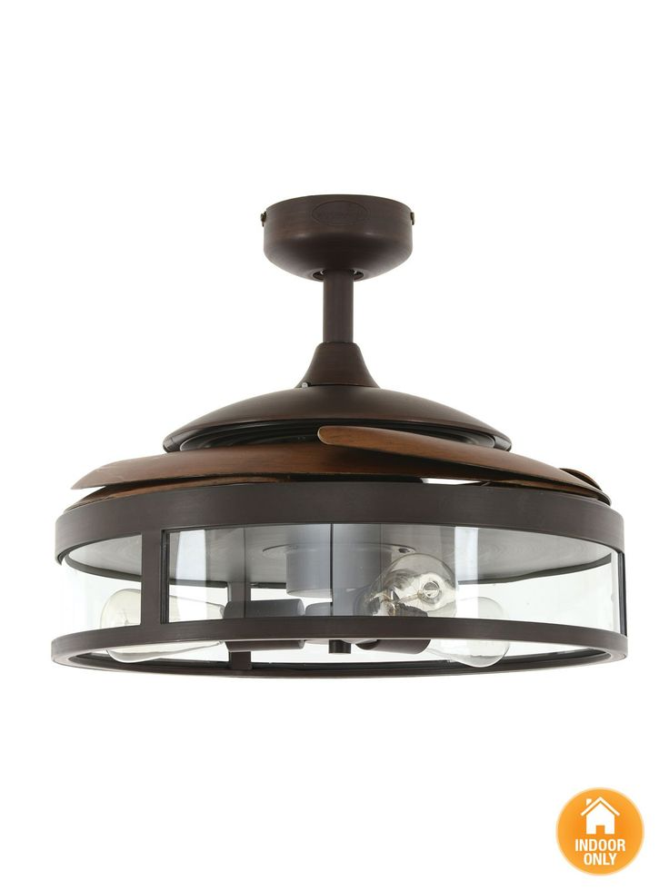 Fanaway Classic ORB Ceiling Fan With Clear Retractable Blades and Light