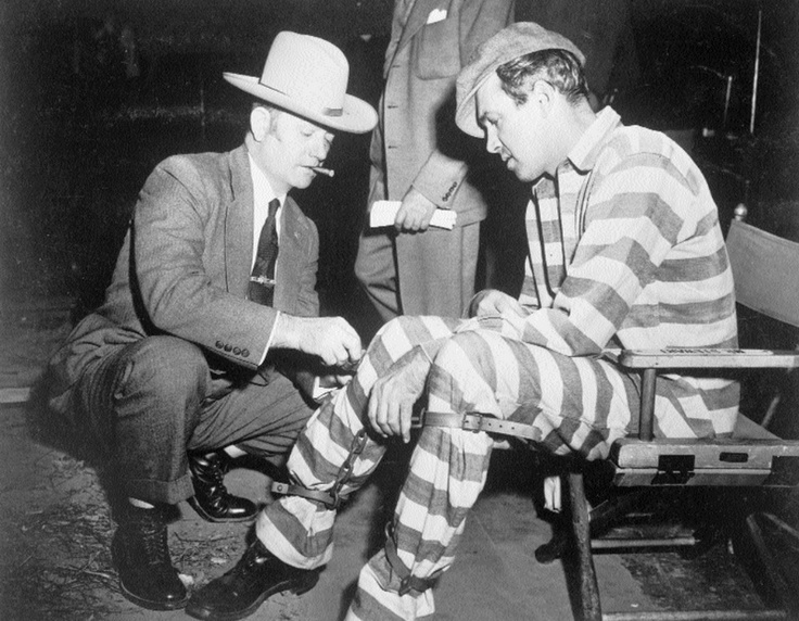 """Jimmy Stewart with David Marshall Williams on the set of """"Carbine Williams"""", 1952"""