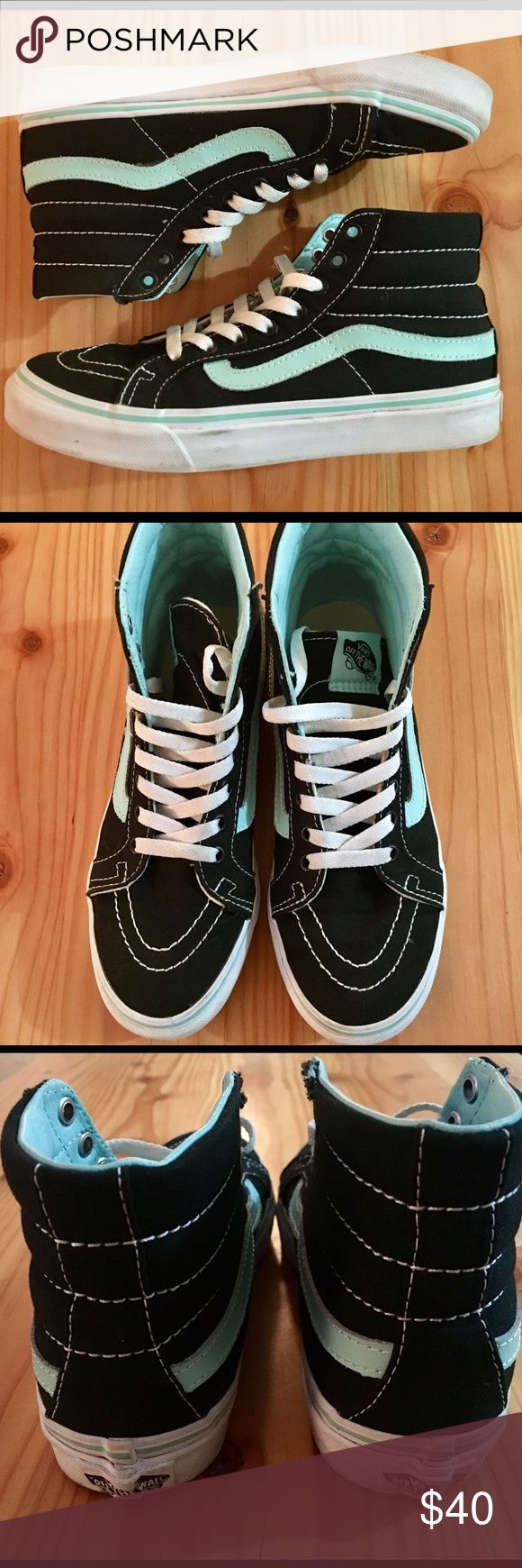 Vans Sk8 Hi Vans Sk8 Hi size men's 4.5, women's 6. They're black with a white sole and seafoam green 👗 stripe and inside. These have only been worn once, so they are pretty much brand new. The only reason I'm listing these is they're a tiny bit too small for me. Looking to trade for a women's 6.5 Sk8 hi shoe in similar condition as well! Vans Shoes Sneakers