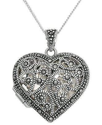 Genevieve & Grace Sterling Silver Necklace, Marcasite Filigree Heart Locket Pendant - Necklaces - Jewelry & Watches - Macy's