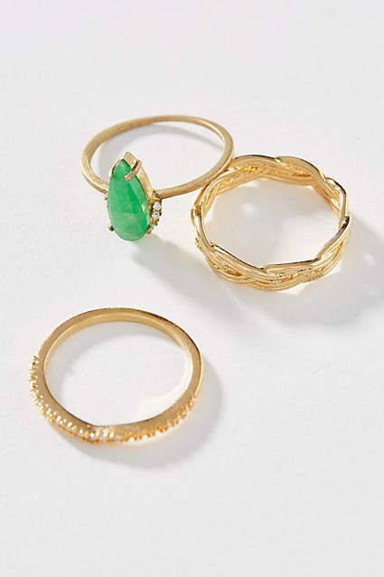 Serefina Emerald Stacking Ring Set