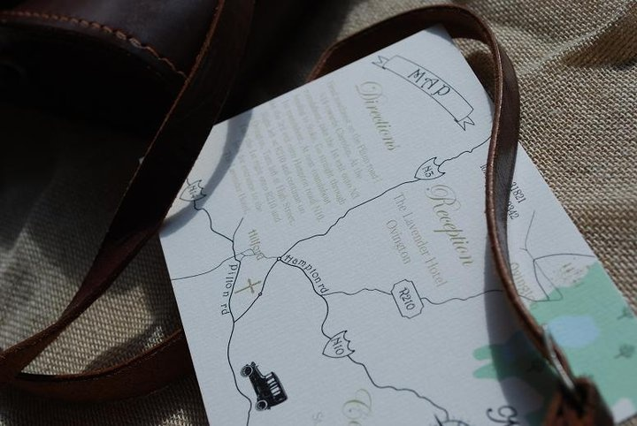 Bespoke map as part of vintage set of wedding stationary graphics by Kingston Lafferty Design