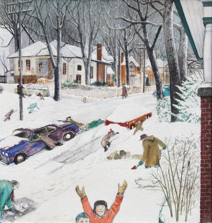 William Kurelek (Ukr/Can. 1927-1977)Winter in the village (1972)mixed media
