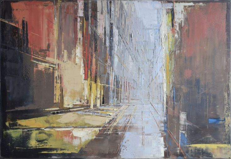 """Buy Oil painting, streched, blue and brown, grey, red, large canvas art 39.37/27.5(100/70cm). """"Perspective of the city 63""""., Oil painting by Karina Antończak on Artfinder. Discover thousands of other original paintings, prints, sculptures and photography from independent artists."""