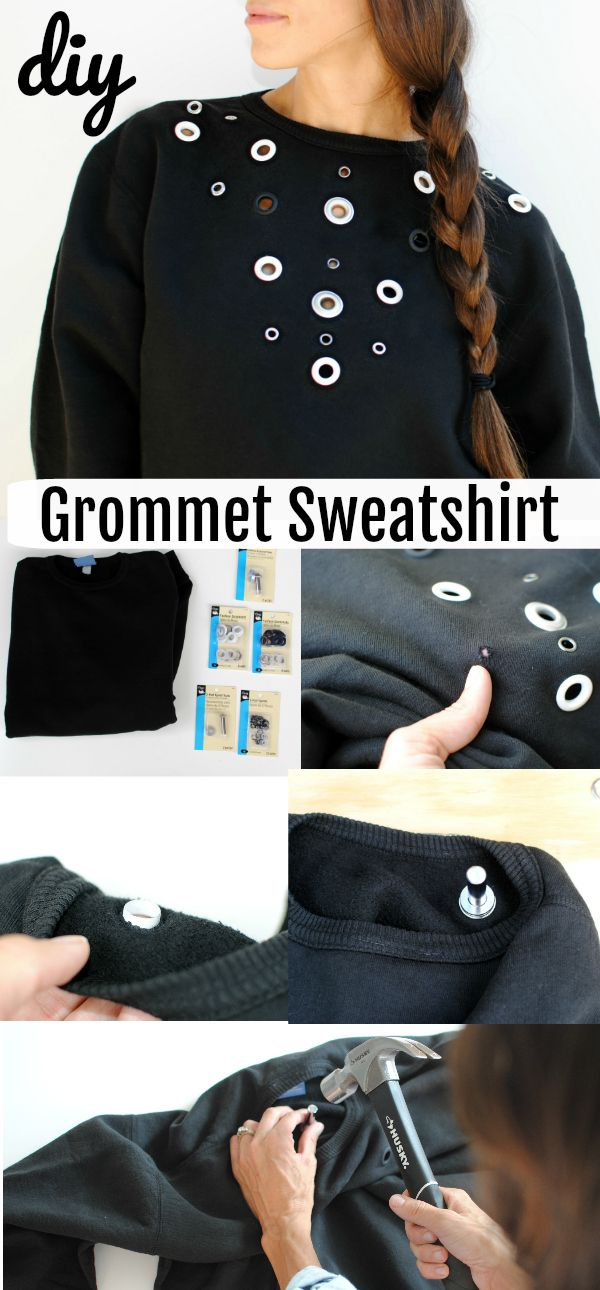 Refashioning: Upcycle a Basic Sweatshirt with Dritz Grommets & Eyelets. An edgy way to transform any basic top; from Trash to Couture for Dritz.