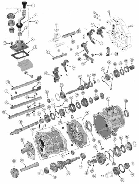 Aisin AX15 Transmission Exploded View Diagram Found in 1987 – 1999 Wrangler YJ's & TJ's