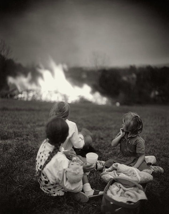 "Sally Mann - Immediate Family, 1992  Artist's statement:  ""These are photographs of my children … many of these pictures are intimate, some are fictions and some are fantastic, but most are of ordinary things every mother has seen. I take pictures when they are bloodied or sick or naked or angry. They dress up, they pout and posture, they paint their bodies, they dive like otters in the dark river.""  Read more about Sally Mann at Gagosian Gallery."