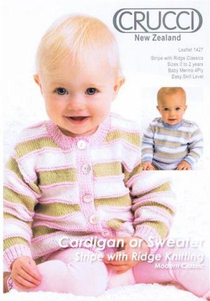 Crucci Cardigan Or Sweater Stripe With Ridges Knitting Leaflet 1427