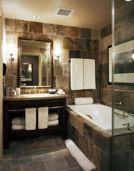 This bathroom combines hotel chic with a rustic edge  Notice the towels in  particular. 72 best Hotel Chic Bathrooms images on Pinterest   Bathroom  Wood