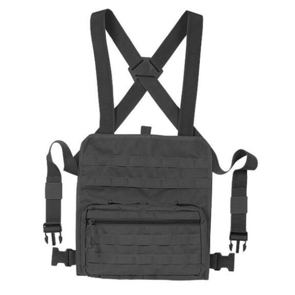 "Voodoo Tactical MOLLE Compatible Admin Chest Rig One Size Fits Most 13""x12.5""x2.5"" MOLLE Webbing Compatible Nylon Black"