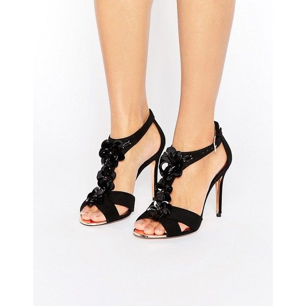 Ted Baker Crezida Embellished Heeled Sandals (€105) ❤ liked on Polyvore featuring shoes, sandals, black, high heel shoes, high heel sandals, heeled sandals, black suede shoes and black heeled sandals