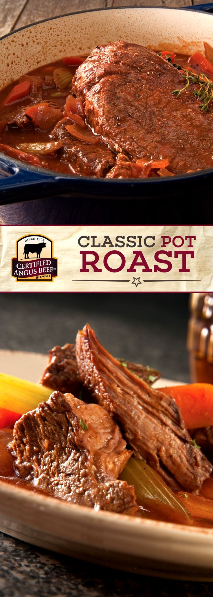 Certified Angus Beef®️️️️️️️️️️️️️️️ brand Classic POT ROAST is slow cooked in the oven or slow cooker with vegetables and an IRRESISTIBLE red wine sauce. Slow cooking on low heat ensures maximum flavor and tenderness every time! This classic COMFORT FOOD recipe is a FAMILY FAVORITE! Use our FREE Roast Perfect App for successful roasting EVERY TIME! #bestangusbeef #certifiedangusbeef #beefrecipe #budgetfriendly #easyrecipe #potroast #comfortfood #slowcooker