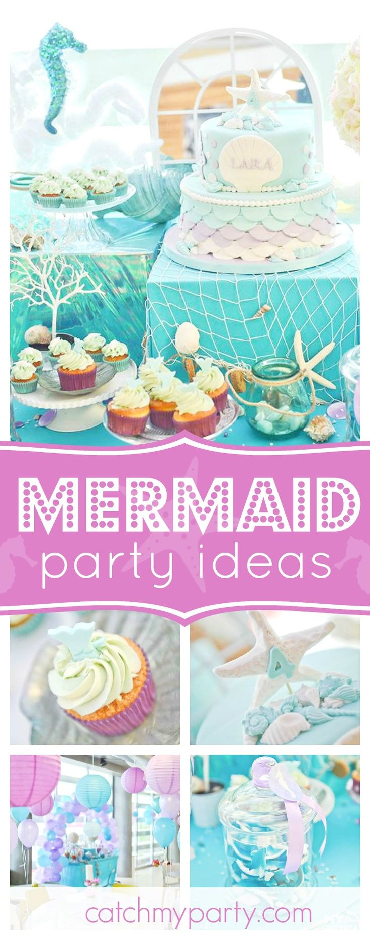 Don't miss this beautiful Mermaid birthday party. The decor and cake are wonderful!! See more party ideas and share yours at CatchMyParty.com