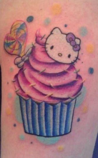 Hello Kitty Cupcake Tattoo by Steven Banegas #tattoos #hellokitty #cupcake http://www.tattoopics.org