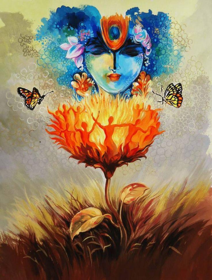 """Saatchi Art Artist Shambhu Nath Goswami; Painting, """"Krishna"""" #art"""