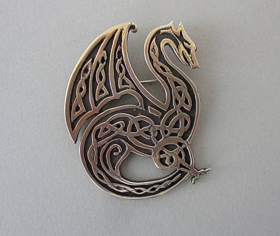 Celtic Knotwork Dragon Pendant or Brooch