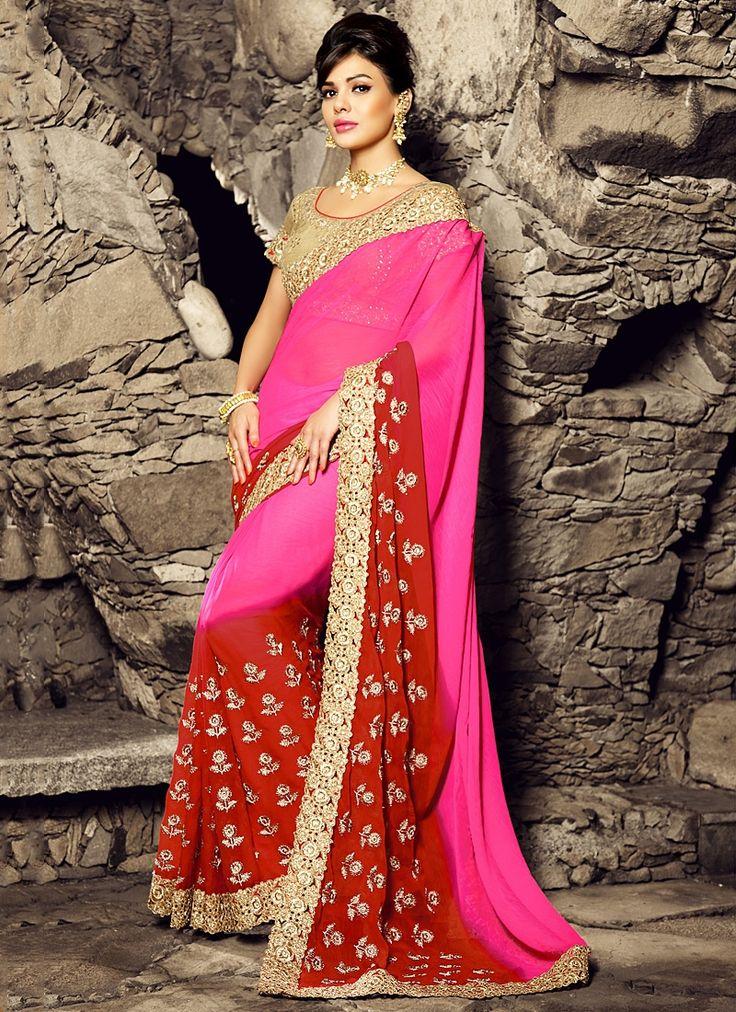Designer Sarees online shopping in USA UK Canada|Buy Brighten Hot Pink Chiffon Saree
