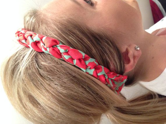 How adorable is this coral and aqua thick single braided headband?! :)