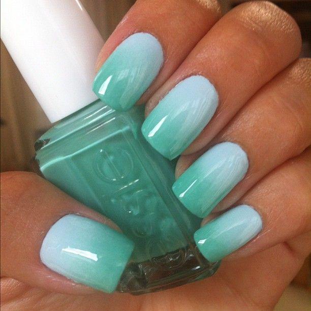 Gradient / fade nail art design using Essie - Turquoise & Caicos, Borrowed & Blue
