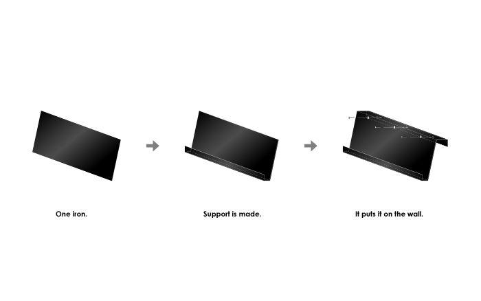 鉄製のオリジナルマガジンラック 1枚の鉄の板を曲げただけのシンプルなデザイン デザインの過程