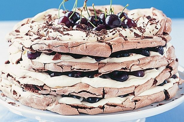 Combine the best of two worlds with this Black Forest cake and meringue dessert. Make the meringue discs the day before serving.