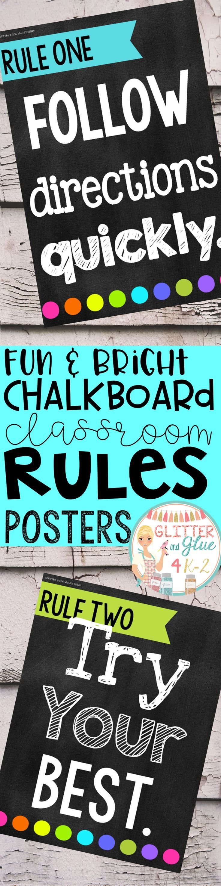 Poster design keywords - Twelve Chalkboard With Pops Of Color Posters For Classroom Rules