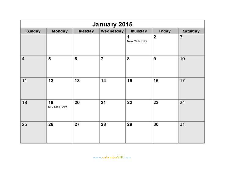 January 2015 Calendar with Holidays | January 2015 Calendar - Blank Printable Calendar Template in PDF Word ...