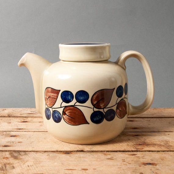 teapot figgjo flint vintage retro norway collectible mid century scandinavian norwegian plums