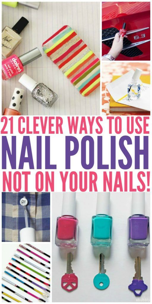 21 Clever Uses for Nail Polish Use nail polish to seal an envelope when the flap just won't stick. Color code your keys to make them easier to find on your key ring. Create some marbled art for your walls using nail polish in water. After the pages dry, put them in frames along with …