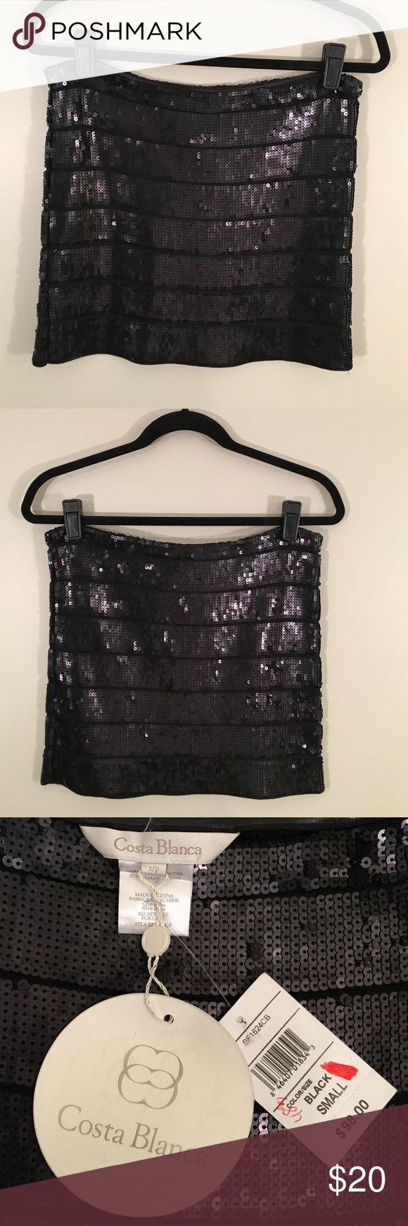 NWT black sequin body con skirt Brand New with Tags! Costa Blanca size small black sequin striped body con skirt. Side zip. Great for NYE or Cocktail party with a nice blouse! Costa Blanca Skirts Mini