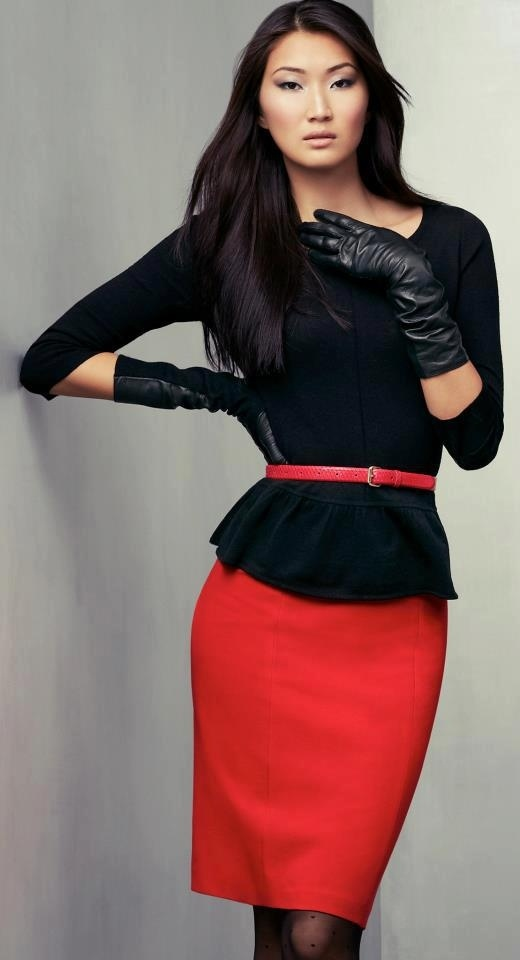 Ann Taylor#black peplum top with red skirt+skinny red belt#9-5 work outfit  GG's tiny times ♥