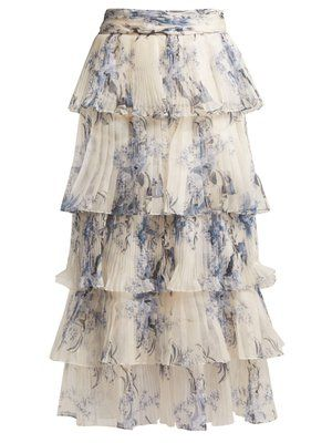 5f1b599323d Journey of the Soul floral-print silk skirt