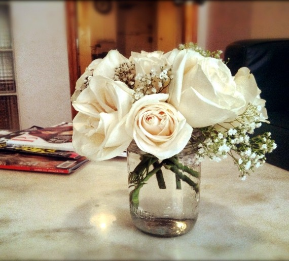 Mason jar for bouquets white roses and baby s breath head