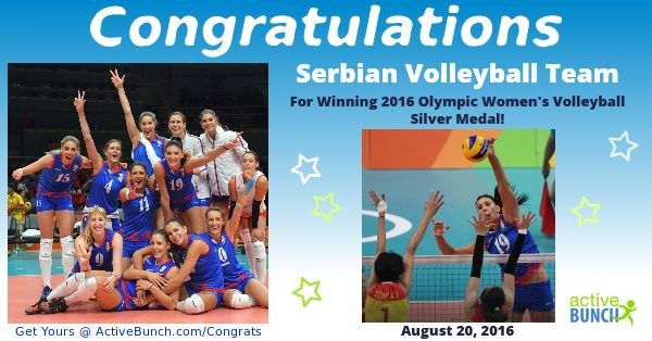 Silver medal for Serbian women's volleyball team at the 2016 Olympic Games in Rio! Well done! We are proud of you!   #news #volleyball #RioOlympics2016 #Rio2016 #OlympicGames #Serbia #Srbija #SRB #China #CHN  http://www.activebunch.com/congrats-000011_160822125311