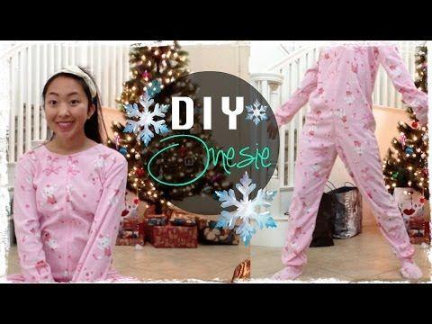 DIY Footed Onesie Pajama - YouTube - geweldig filmpje  met eigen patroon obv pyjamabroek + T-shirt + ww nadien