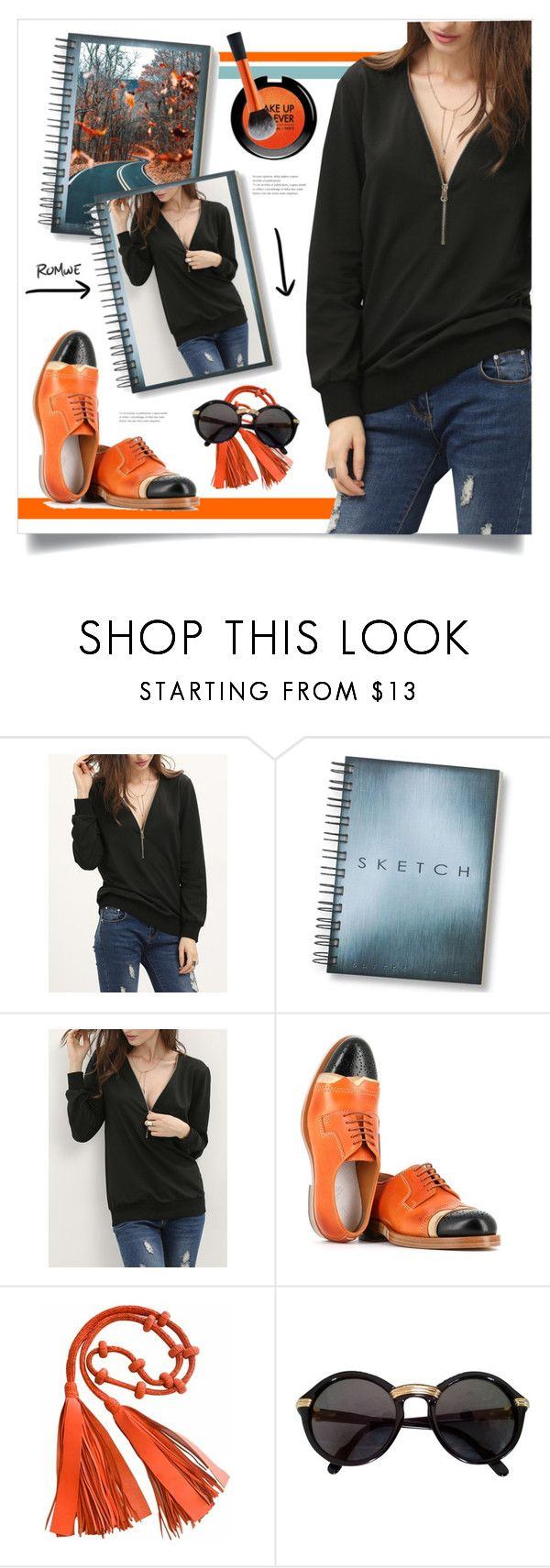 """""""Black Zipper V Neck Plain Sweatshirt – contest sponsored by ROMWE.COM"""" by miss-image ❤ liked on Polyvore featuring Maison Margiela, Cartier and MAKE UP FOR EVER"""