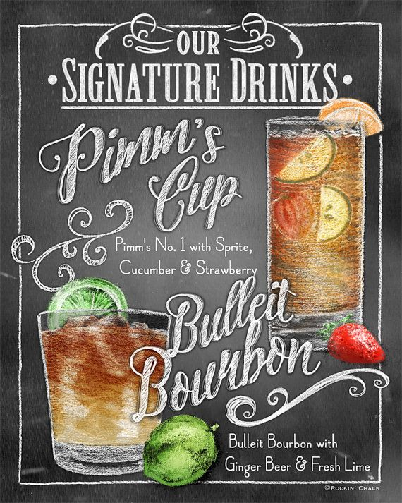 MULTIPLE DRINK Signature Drink Signage Chalkboard by RockinChalk