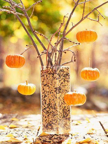 simple yet beautiful: Fall Table, Fall Decor, Halloween Trees, Wedding Ideas, Pumpkin Trees, Diy Wedding, Outdoor Halloween, Trees Centerpieces, Center Pieces