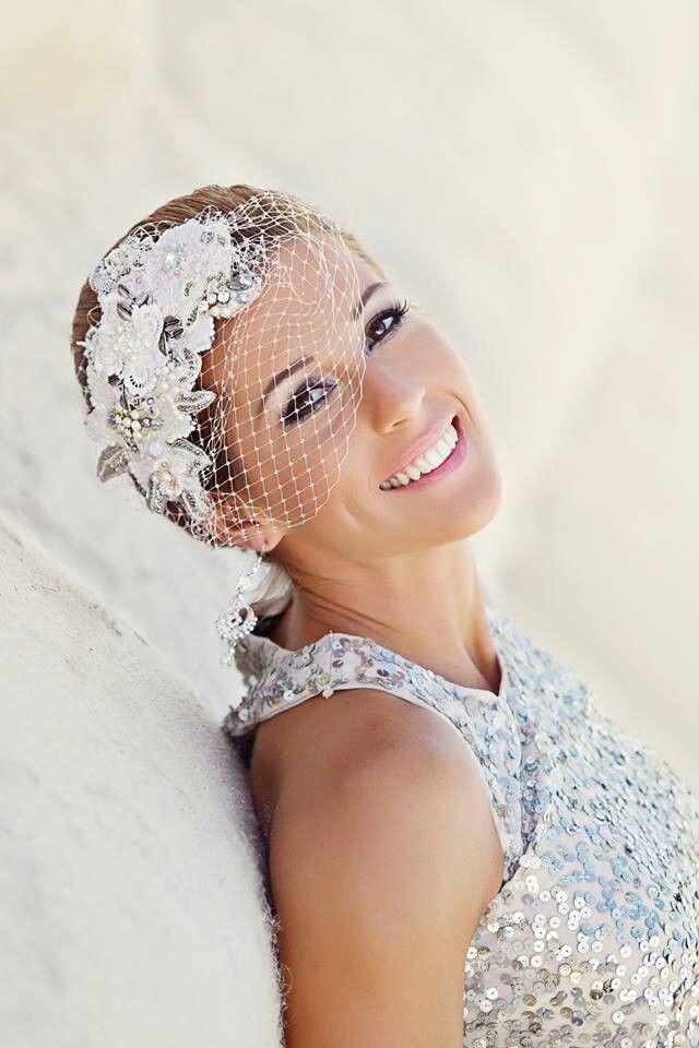 bridal headpiece.. with swarovski crystals. .birdcage veil