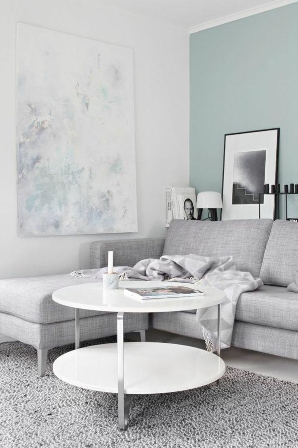 Wandgestaltung Weiss Farbakzente Minzgrn Mehr
