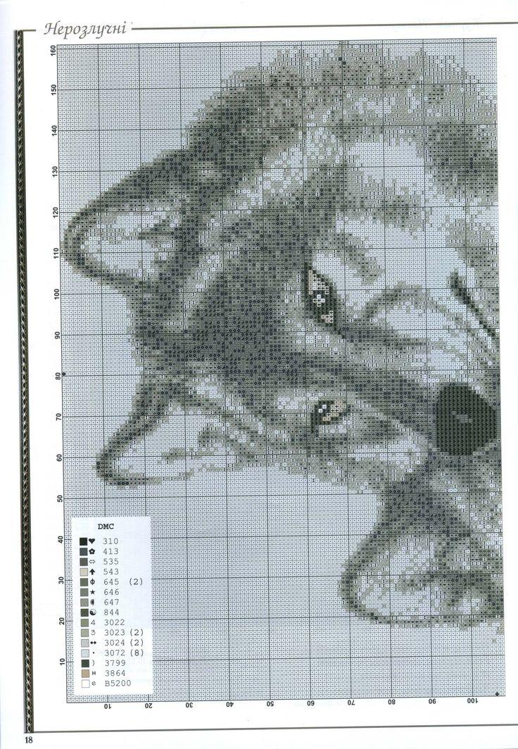 Black & white wolf cross stitch 1