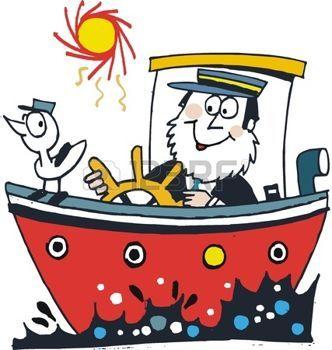 oceaan%3A+cartoon+van+gelukkige+kapitein+in+rode+boot+Stock+Illustratie