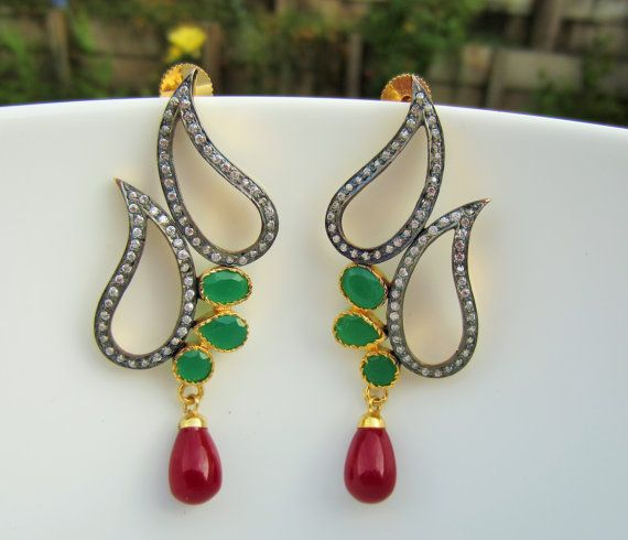 Rose Cut Zirconium and Emerald Paisley Shaped Earrings by Alankaar, $45.00