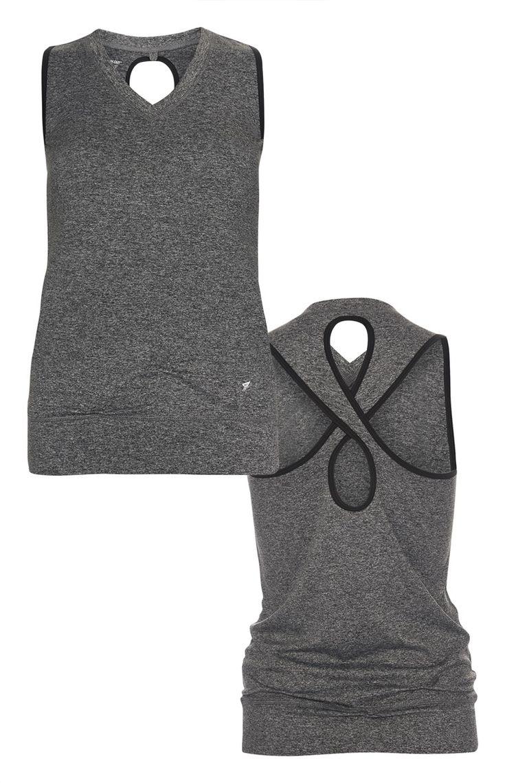 Primark - Grijs fitness-topje met gedraaide rug