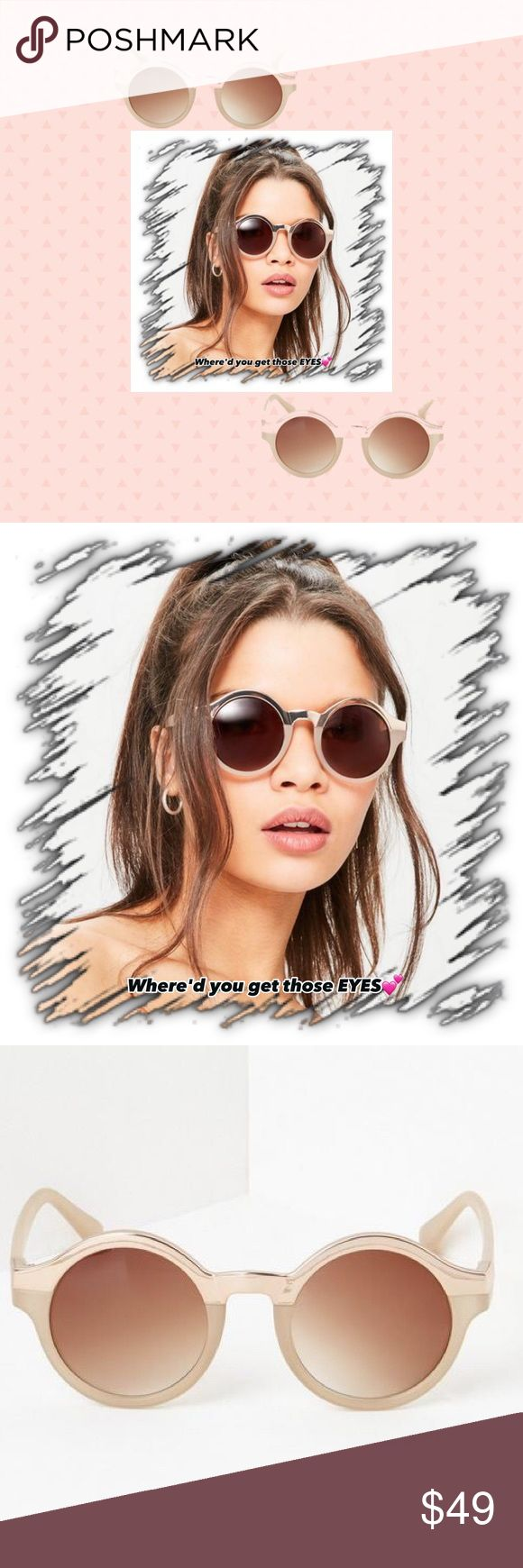 💋Sexy Nude & 1/2 Metal Sunnies/Ovdrsized Round! 💋Nude Tone/1/2 Gold Metal Sunnies/ Will elevate your style game wearing these super sleek sunglasses in a nude hue-featuring rounded design & half metal details. Resin/Gold metal/Brown Ombre Lenes that protect ur peepers in style! These Beauties will have YOU getting all the LOOKS at the pool/on the beach! All sunnies provide full uva/uvb protection/come w their own microfiber carry case/cleaning cloth + ur choice of Case? FlexTop Close or…