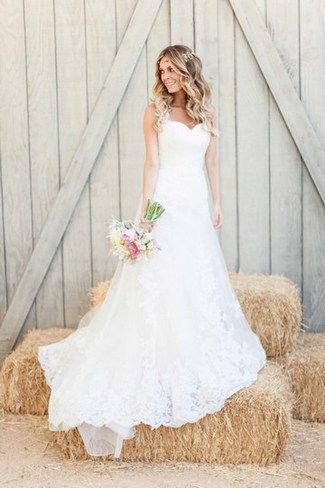 "Romantic & Rustic Garden Wedding in California | Confetti Daydreams - Real bride Jasmine Dustin wearing a strapless sweetheart-neckline style Pronovias ""Petunia"" wedding gown  ♥  ♥  ♥ LIKE US ON FB: www.facebook.com/confettidaydreams  ♥  ♥  ♥ #Wedding #RealBride #RusticWedding"