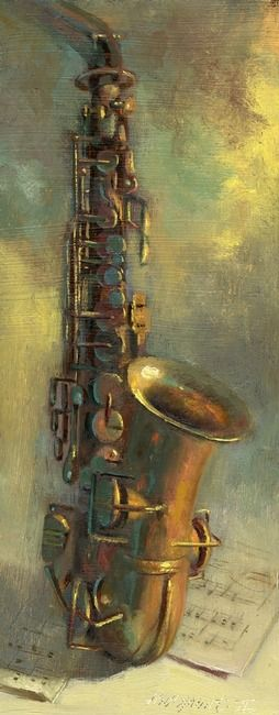 """Saxophone"" by Hall Groat II, Endwell // Painted in a 19th century traditional style, this stunning  realistic work is of a saxophone.  The original  was painted in oil on a 15"" x 6"" prepared panel. It's  painted romantically in brilliant golds, reds, yellows  and blues. The saxophone belongs to the artist's  father-in-law who... // Imagekind.com -- Buy stunning, museum-quality fine art prints, framed prints, and canvas prints directly from independent working artists and photographers."