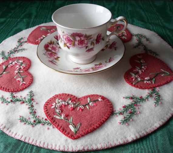 Valentine Candle Mat by QuiltShenanigans The needle work here is lovely!!